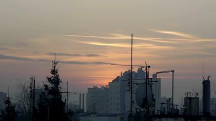 Sunset. City skyline. Timelapse.