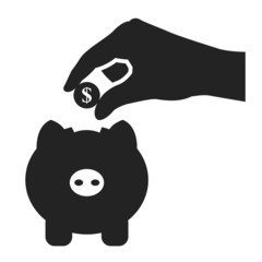 piggy bank and hand with coin black icon