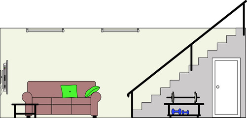 Basement with Stairs Furniture and Weight Lifting Equipment