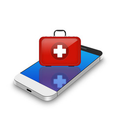 Red First Aid kit on smartphone,cell phone illustration