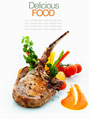 Roasted Pork Chops with Vegetables and Basil.
