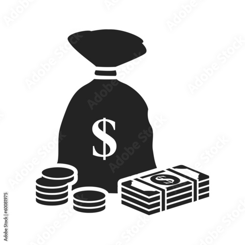 money bag black icon with dollars and stacks of coins