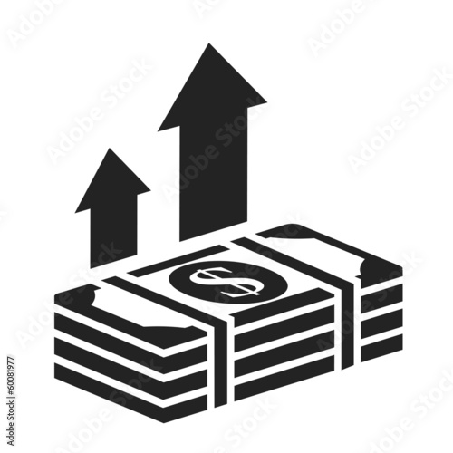 dollar stack black icon. money growth concept