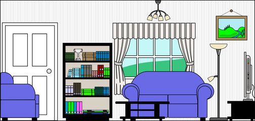 Lounge or Sitting Room with Bookcase Furniture and Fittings