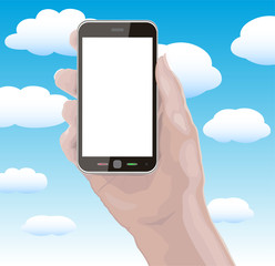 Hand Holding Cellphone with Blank Screen