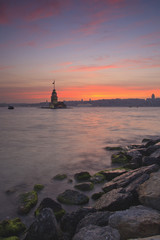 Maiden's Tower in Istanbul at sunset