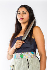 Indian Woman with Knife