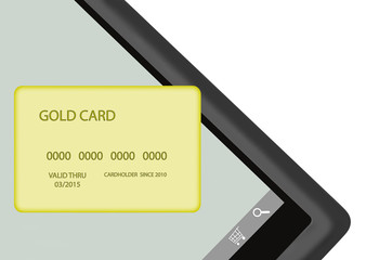 Internet shopping, tablet pc, gold color credit card