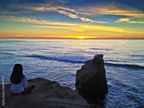 Woman Watching the Sunset Pacific Ocean San Diego California
