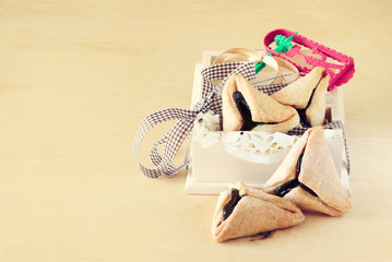 Hamantaschen cookies and Noisemaker for Purim celebration