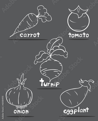 Vegetables set with Gray Background