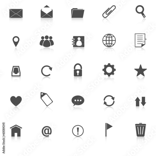 Mail icons with reflect on white background