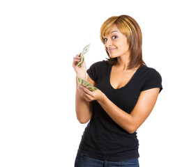 Portrait happy excited successful business woman holding cash