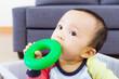 Asian baby boy bite toy