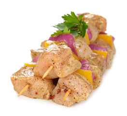 Raw chicken kebabs