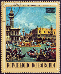 Doge's Palace and Piazzetta, Venice by Canaletto (Burundi 1971)