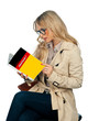 woman reading german language book