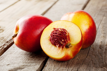 Three ripe juicy nectarine