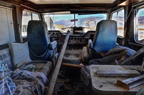Old abandoned RV with broken windshield