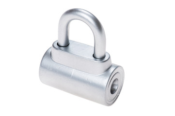 chrome metal padlock on white
