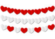 Paper hearts garlands on white