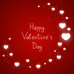 Red background with shiny hearts