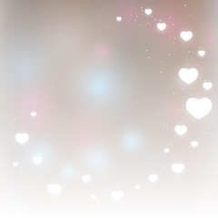 Silver background with shiny hearts