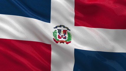 Flag of Dominican Republic waving in the wind - seamless loop