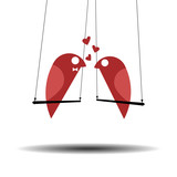 cute lovebirds swinging - romantic background