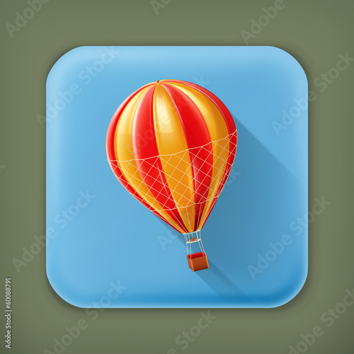Air balloon, long shadow vector icon