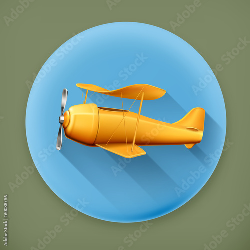 Aircraft, long shadow vector icon
