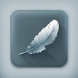 Feather, long shadow vector icon