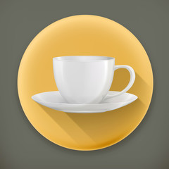 Coffee Cup, long shadow vector icon