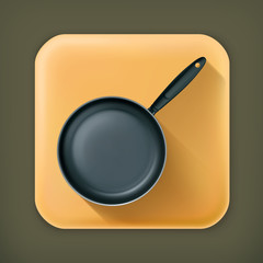 Frying pan, long shadow vector icon