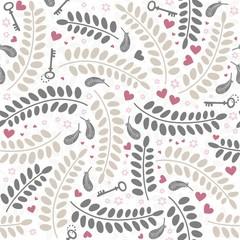 klucze kwiaty liście pióra kolorowy deseń na białym tle