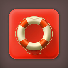 Lifebuoy, long shadow vector icon