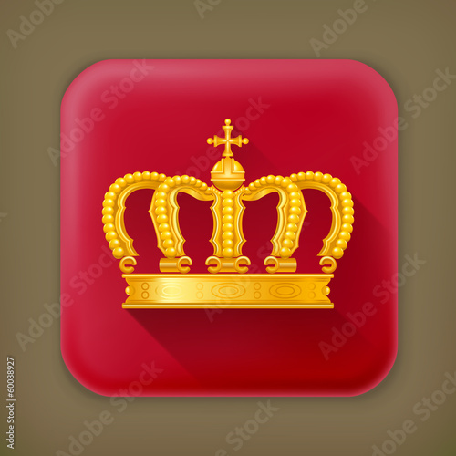 Crown, long shadow vector icon
