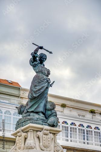 Monument to Maria Pita, A Coruna, Galicia, Spain.