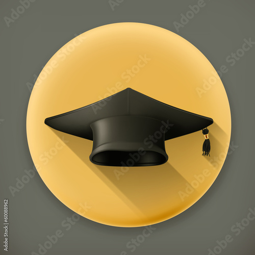 Graduation cap, long shadow vector icon