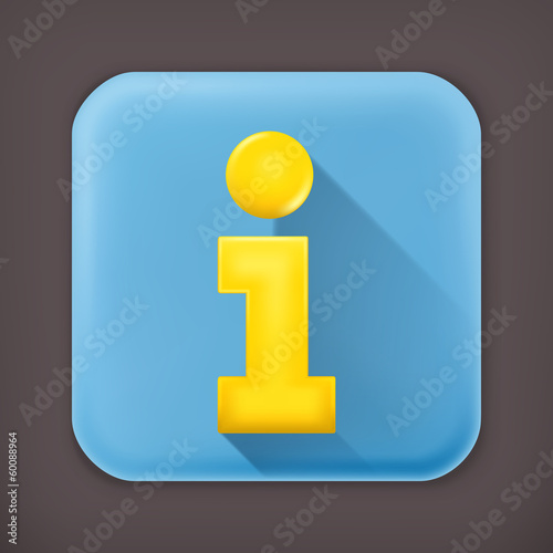 Information, long shadow vector icon