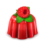 Raspberry jelly, detailed vector