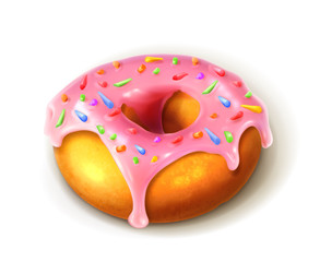 Glazed ring doughnut, detailed vector