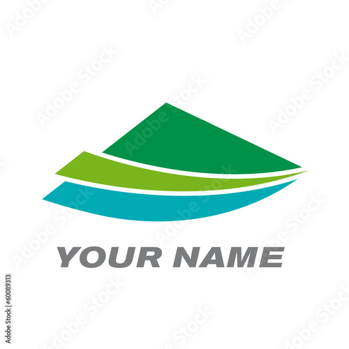 Vector logo mountain, lake and the countryside