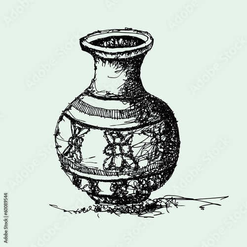 sketch drawing of antique jar vector