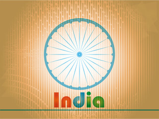 Indian Independence Day background with 3D Ashoka wheel.