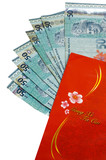 Chinese new year red money packet with Malaysian RM50 notes