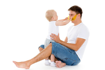 Happy father with baby son. .