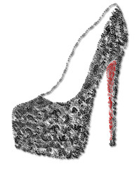 ornate black and red shoe