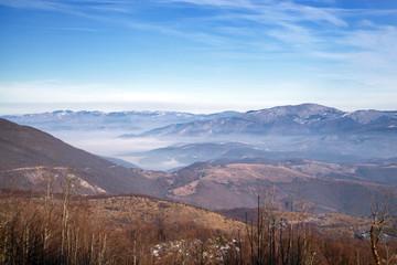 View of the city Sarajevo in fog