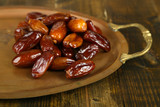 Conceptual photo of Ramadan food:dates palm on tray